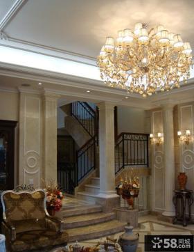 欧式别墅客厅水晶灯图片
