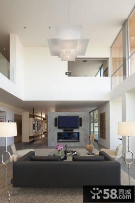 复式楼客厅吊顶装修图片 客厅壁炉电视背景墙装修效果图