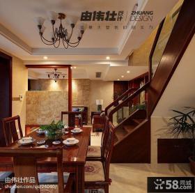 中式复式楼餐厅过道楼梯效果图