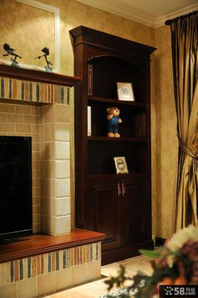 美式新古典风格客厅壁柜图片