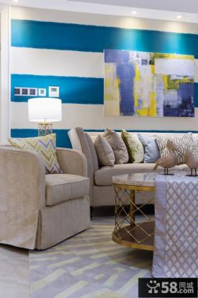 简欧风格装修客厅沙发墙装饰效果图
