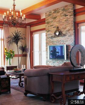 新中式复式客厅电视墙装修效果图片