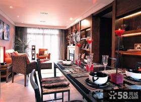 现代东南亚风格客厅餐厅不吊顶效果图