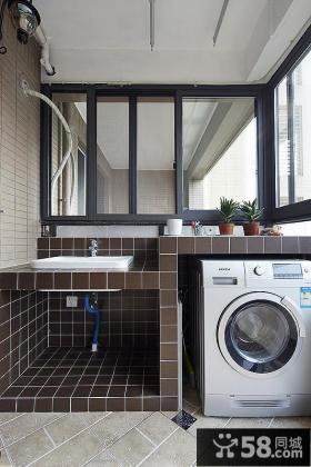 混搭风阳台洗衣机摆放案例