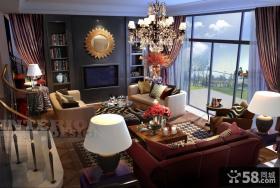 别墅客厅电视机背景墙效果图大全2013图片