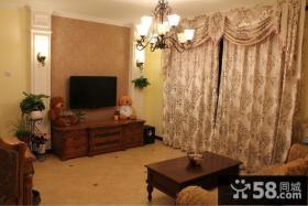 古典欧式小户型客厅电视背景墙效果图