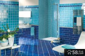 大卫生间蓝色瓷砖效果图片