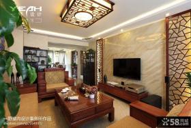 现代中式客厅电视背景墙装修效果图大全2013图片