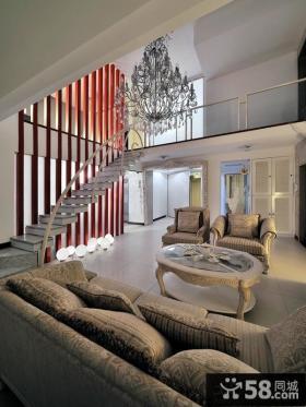 欧式别墅挑高客厅装修效果图欣赏