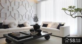 简约客厅装修效果图 简约客厅梅花浮雕背景墙效果图
