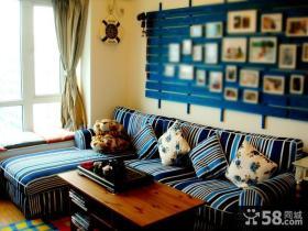 客厅沙发蓝色背景墙装修效果图