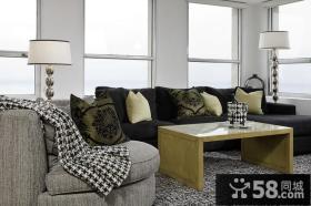 6万打造90平简约风格客厅飘窗装修效果图大全2014图片