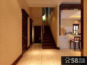 美式乡村别墅室内楼梯设计效果图