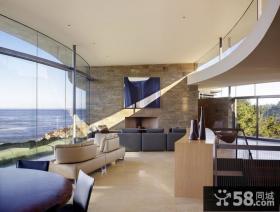 依山傍海的别墅客厅装修效果图大全2012图片