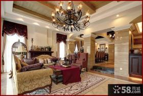 美式风格别墅客厅装修效果图大全2014图片