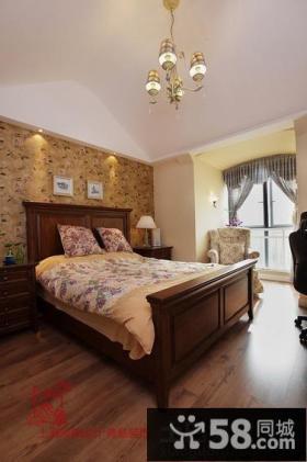 美式乡村风格二居卧室效果图