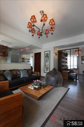 简约中式风格客厅不吊顶效果图