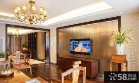 中式风格精装客厅电视背景墙装修图片欣赏