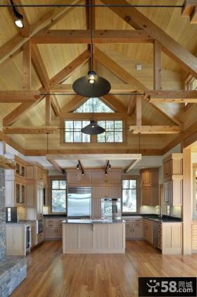 美式乡村风格开放式厨房装修效果图