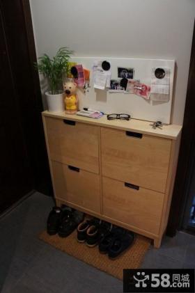 进门玄关实木鞋柜装修效果图