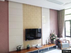 新中式别墅客厅电视背景墙装修2014