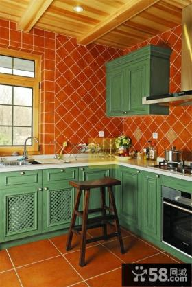 美式厨房厨柜效果图