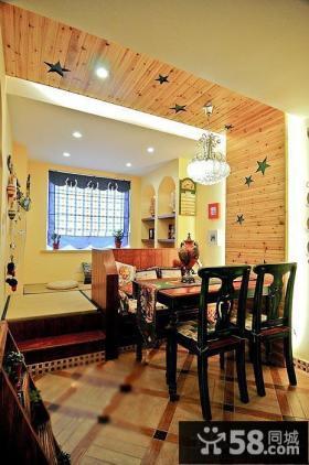 家庭餐厅桑拿板吊顶效果图