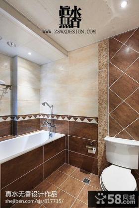 美式风格卫生间瓷砖效果图片