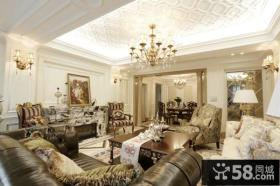 欧式豪华客厅吊顶图片欣赏