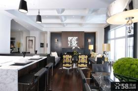 经典现代风格复式楼客厅吧台设计