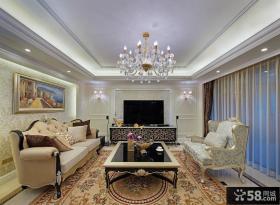 欧式新古典客厅大吊顶效果图
