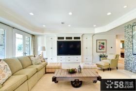 简欧风格家庭客厅装修电视背景墙