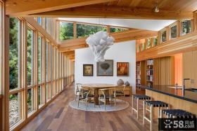 密林中的现代风格别墅餐厅飘窗装修效果图大全2014图片
