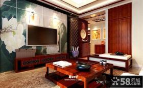 中式荷花手绘电视背景墙效果图