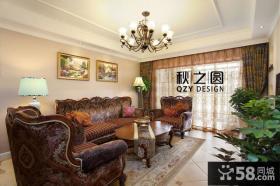 美式客厅沙发背景墙装饰画效果图