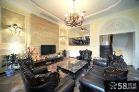 现代欧式别墅客厅电视背景墙效果图