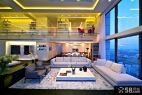 现代复式公寓客厅效果图