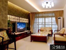 现代中式风格客厅电视背景墙效果图
