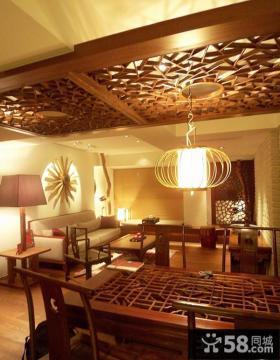 中式客厅木吊顶设计图片欣赏