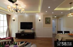 宜家简易客厅电视背景墙装修效果图大全2014图片