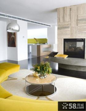 140平四居室创意圆弧型客厅电视背景墙装修效果图大全2012图片