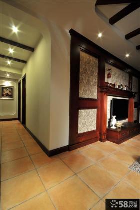 美式乡村风格室内地板砖装修图片