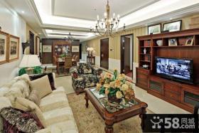 现代美式客厅电视背景墙装修效果图