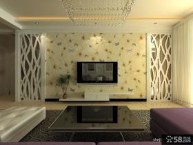 简欧式客厅电视背景墙墙纸效果图