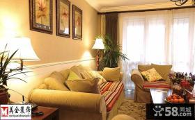 美式田园风格客厅沙发摆放效果图