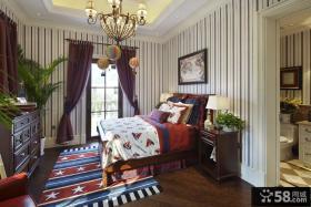 绿城白沙湾玫瑰园美式四居室卧室样板间