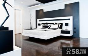 简约现代风格卧室床头背景墙装修效果图
