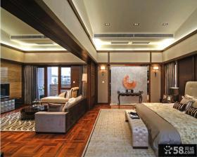 中式古典风格卧室客厅推拉门隔断效果图