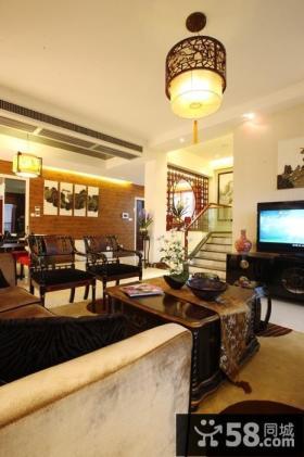 中式复式楼客厅装修效果图