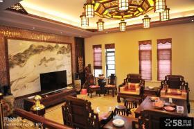 2013中式客厅电视背景墙效果图